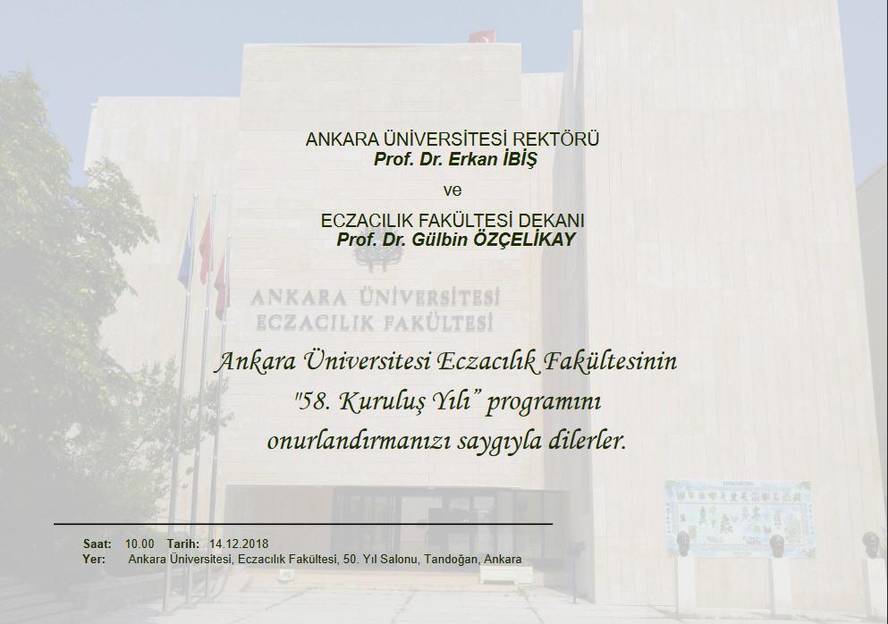 Ankara Üniversitesi Eczacılık Fakültesi 58. Yıl Kutlama Programı