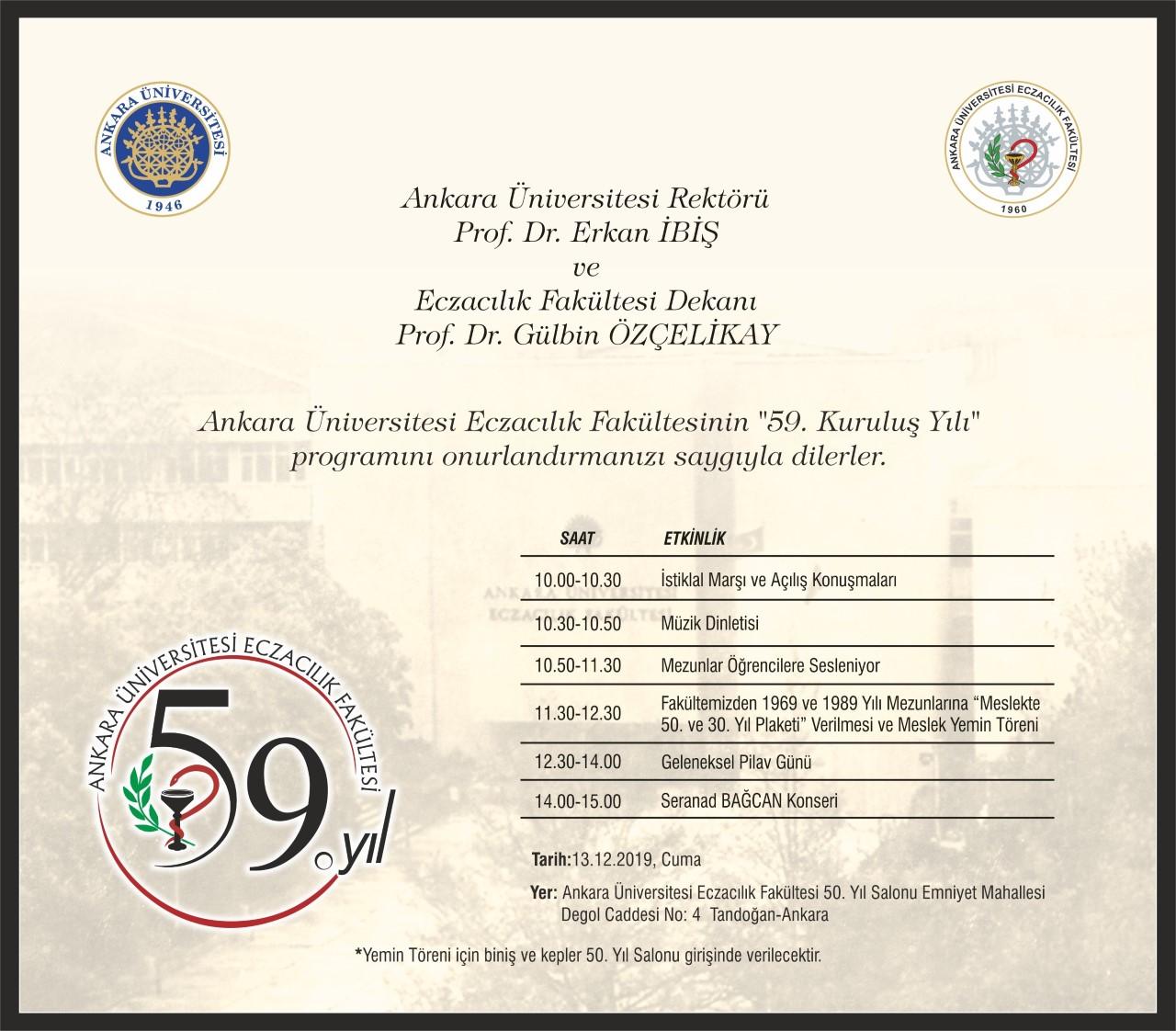 Ankara Üniversitesi Eczacılık Fakültesi 59.Yıl Kuruluş Yıl Dönümü Etkinlikleri